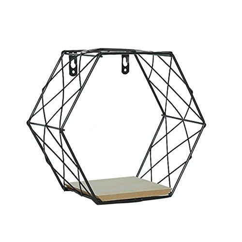Estante de exhibición montado en la pared, rejilla hexagonal del hierro de la pared figura geométrica decoración del hogar para el dormitorio de la sala por 332PageAnn