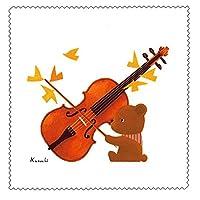 クリーニングクロス 山田和明「くまヴァイオリン」 レンズクリーナー メガネ拭き 絵本作家 イラストレーター ミュージック 水彩画 音楽 楽器