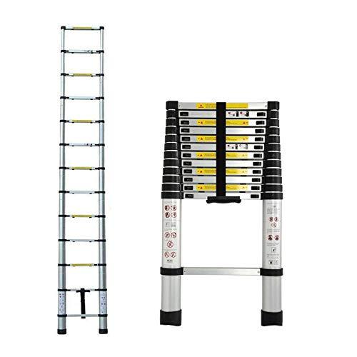 3,8m Teleskopleiter Mehrzweckleiter für Dachboden/Kletterdach/Büronutzung/Baujob Ausziehbar Aluleiter Rutschfeste Stufen 150 Kg...
