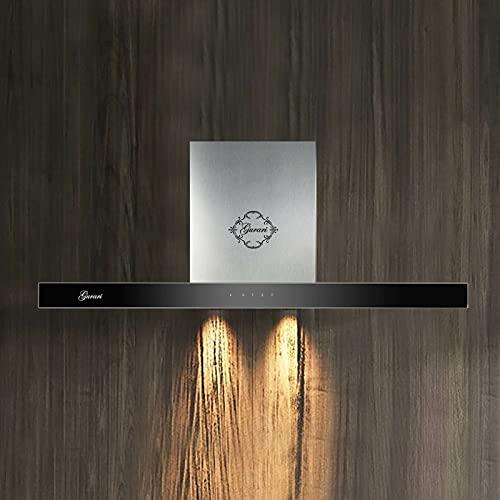 Gurari - Cappa da parete GCH 462 is 9 Prime+tubo di scarico, acciaio inox, cappa da cucina 90 cm, vetro nero Panell/aspirazione 1000 m³/h, cappa aspirante/aria di scarico/aria riciclata.