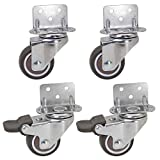 Dr.Luck 1.5 Inch L-Shaped Plate Swivel Caster Combo, TPE Rubber Wheel Metal Housing Caster L-Clip Side Mount Plate for Furniture, 4 Pack Total Load Capacity 156Lbs/71Kg - 2 Swivel & 2 Swivel w/Brake