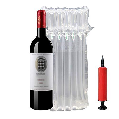 BestTas 5/15/35/50/100 pièces Protection du Vin,Bouteille Bubble Wrap Enveloppement à Bulles de Vin,Sac Bouteille Vin,Sac étanche (5pack)