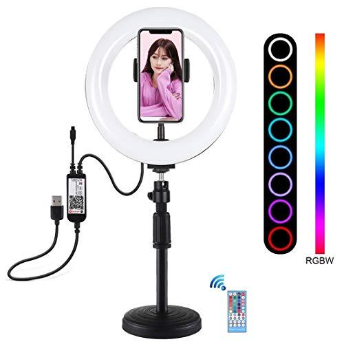 LTYD ACD 7,9 pulgadas de 20 cm Temperatura RGBW Light + Base redonda de escritorio del montaje regulable LED de doble color LED luz del anillo curvado vlogging selfie Fotografía luces de vídeo con el