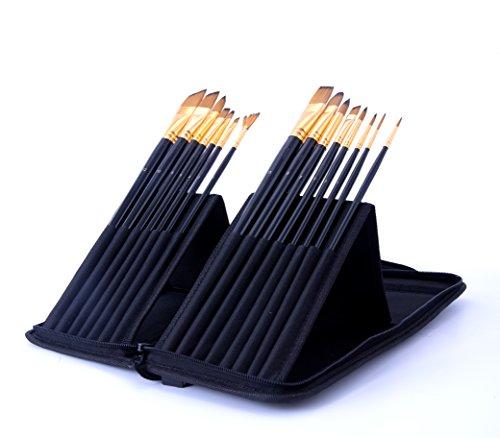 Exerz JH025 Artist Set de Pinceles – 15 Pinceles Profesionales en un Estuche Desplegable/Perfectos Para Usar con Acuarelas/Acrílico/Oleo/Pintura Facial