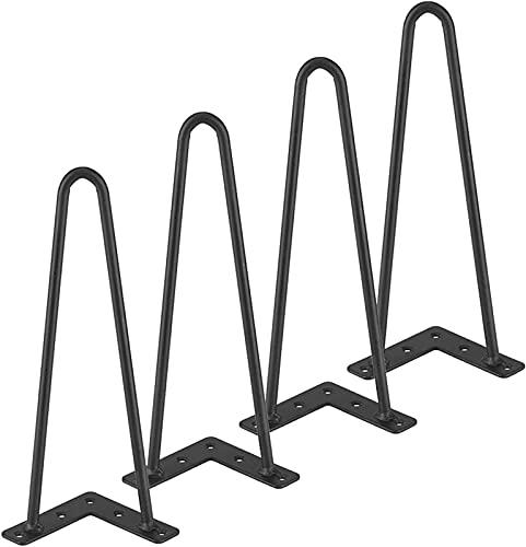 4 patas de mesa de horquilla, patas de mesa de metal resistente, patas de sofá de repuesto para bricolaje, para soporte de TV/armario, etc.(Color:黑色,Size:55cm)