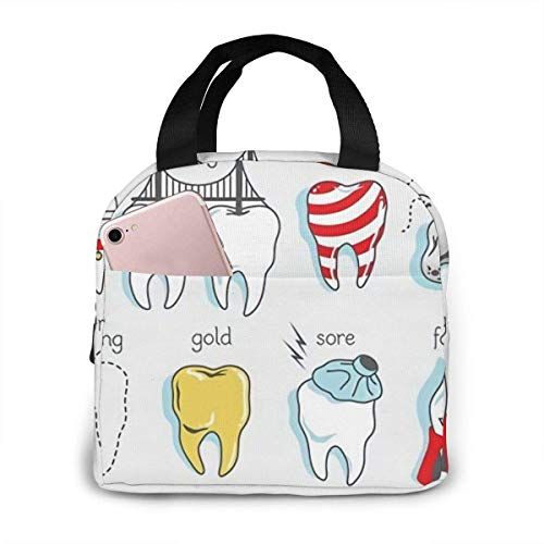 shenguang Dental Combination Insulated Lunch Bag for Women, Thermal Cooler Lunch Tote Bag, Portable Lunchbox Reusable Meal Prep Bag for Men, Girls, Adults, Students, Kids, Picnic, Travel, Hi
