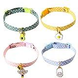 4 Pzs Collares para Gatos Ajustable Seguro Gato Vistoso Collar Collar para Mascotas de Algodón Suave con Campana, Hebilla de Liberación Rápida para Gatitos Domésticos Gatos Cachorros Perros Pequeños
