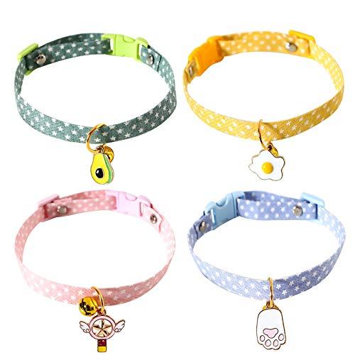 4 Pzs Collares para Gatos Ajustable Seguro Gato Vistoso Collar Collar para Mascotas de Algodón Suave con Campana, Hebilla de Liberación Rápida para Gatitos Domésticos Gatos Cachorros Perros Pe