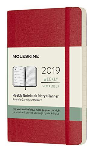 Moleskine 2019 Agenda Settimanale 12 Mesi, con Spazio per Note, Tascabile, Copertina Morbida, Rosso Scarlatto