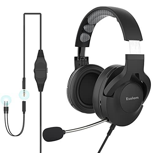 PC Headset mit Mikrofon Einziehbar, Esolom 3,5mm Klinke Headset Handy Wired Headset mit Noise Cancelling Mikrofon Over Ear StudioKopfhörer für Office Skype Webinar Call Center Zoom Telefonkonferenzen