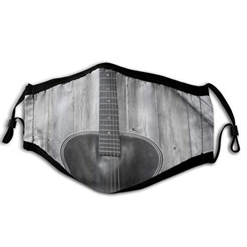 WINCAN Gesichtsbedeckung Vintage Akustikinstrument Gitarre Hing auf Alten Holztür Zäune Country Ranch Sturmhaube Unisex Wiederverwendbare Bandanas Halsmanschette mit 2 Filtern