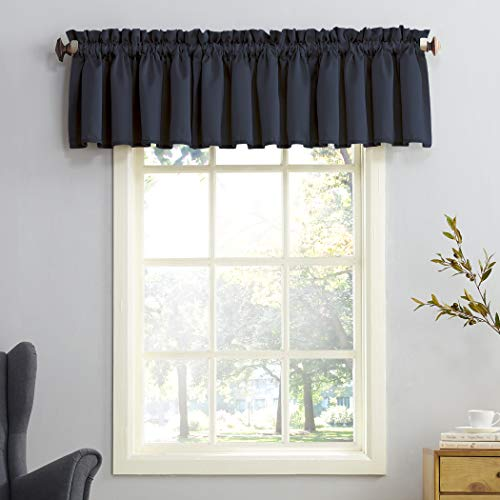 "Sun Zero Barrow Energy Efficient Rod Pocket Curtain Valance,Navy Blue,54"" x 18"" Valance"