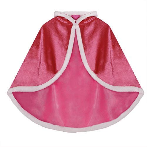 Princess Hooded Cape Cloaks Corded Velveteen Christmas Halloween Cloak Party Dress up Accessories for 3-10 Years Kids Girls Rose