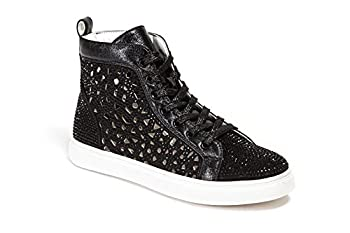 Lady Couture Flat Laser Cut High Top Bling Rhinestone Sneaker Women s Shoes New York Black 40