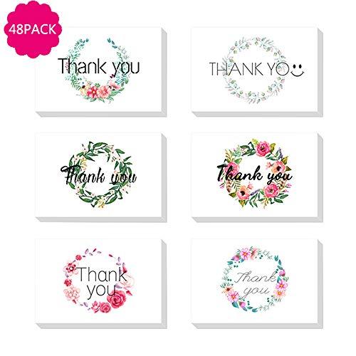 DECB Floral Gracias Las Tarjetas 48 Tarjetas en Blanco a Granel con Sobres para Acción de Gracias, cumpleaños, Baby Shower, Despedida de Soltera, Negocios, Aniversario, Maestro