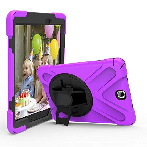 JZ 360 Degrees Kickstand Case Compatible with Samsung Galaxy Tab A 9.7 2015 (SM-T550) Stand Case Cover with Wrist Strap and Shoulder Strap - Purple