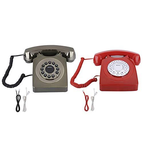 Teléfono residencial vintage, teléfonos fijos de estilo vintage europeo, teléfono multifunción Decoración de teléfono antiguo, botón grande y transparente para el hogar y la oficina(Rojo brillante)