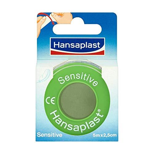 Hansaplast Fixierpflaster Sensitive 5 m x 2,5 cm, hautfreundliches und hypoallergenes Tape zur Fixierung von Verbänden, breite Pflaster Rolle, leicht abreißbar