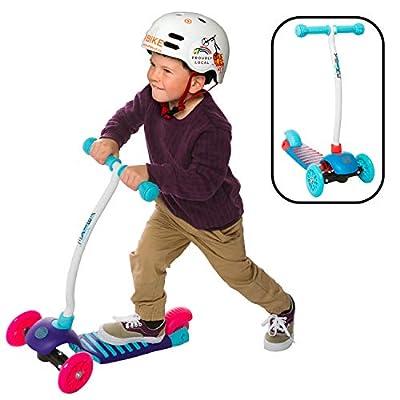 YBIKE Kids GLX Cruze 3-Wheel Kick Scooter, Raspberry