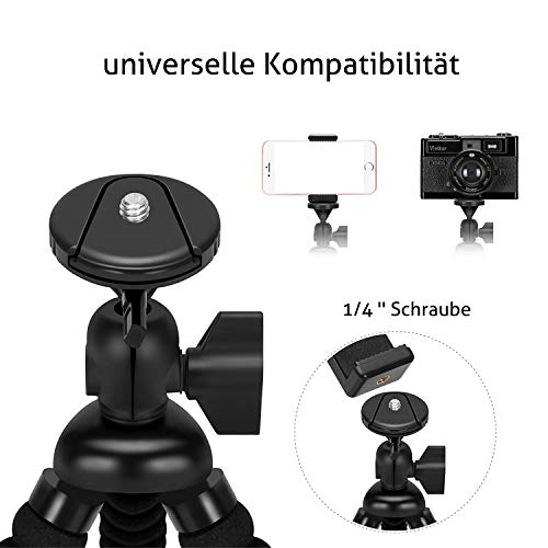 Ailun Phone Camera Tripod Mount/Stand,Compact Phone Holder,Compatible with Camera Galaxy s20 s20+ S20Ultra Note8/9,Note5 More Camera&Cellphone[Black]
