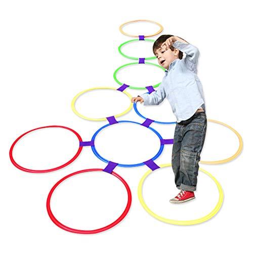 Kids Outdoor Jumping Ring Hopscotch Ring Spiel Spielzeug 10 Multi-Colored Plastic Ringe und 9 Anschlüsse für den Innen- oder Außenbereich-Fun Creative Play Set für Mädchen und Jungen(38cm)