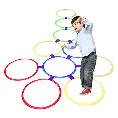 Hopscotch, cerchi giocattolo per bambini da usare all'aperto, 10 cerchi e 10 raccordi, multicolore, in plastica, anche per uso interno, diametro 38 cm