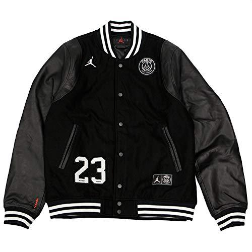 Nike Jordan PSG (Paris Saint-Germain) Men's Varsity Jacket (Black/White, Large)