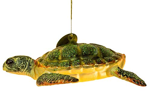 Cape Shore Sea Turtle Blown Glass Christmas Holiday Ornament 5 Inches