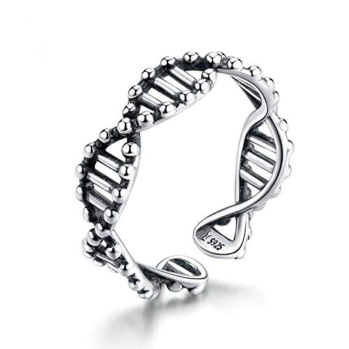 Decorative ring Open Ring For Women,Adjustable Elegant Dna Gene Strand Ring Unisex 925 Sterling Silver Jewelry Gifts For Weddings Prom Birthday Anniversary Promise Ring