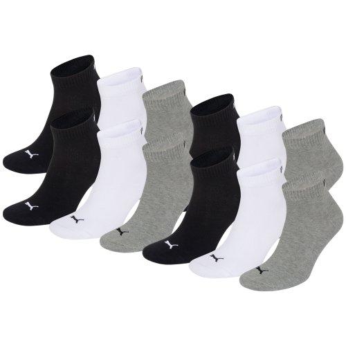 PUMA Unisex Quarter Quarters Socken 12er Pack, Größe:39-42;Farbe:grey/white/black