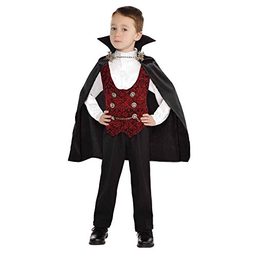 Lingway Toys Kids Vampire of Darkness Costume for Boys Halloween Dress Up Parties with Accessories 12-14 Black/Red
