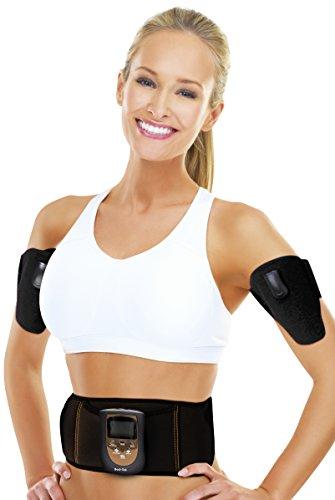 Bodi-Tek Abs Abdominal and Arms Cinturón de tóner Muscular EMS, Unisex, Negro, Talla única