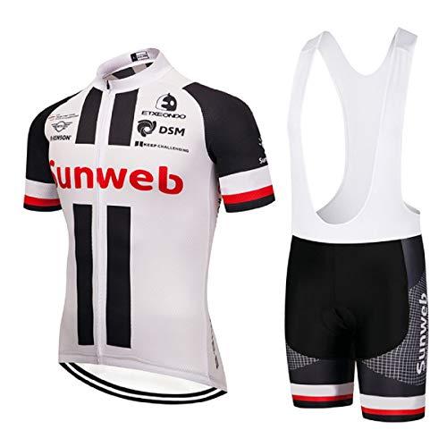 Bike Ensemble de vêtements de Cyclisme pour Hommes, Maillot de Cyclisme avec Pantalon à Bretelles pour VTT et équipe Professionnelle