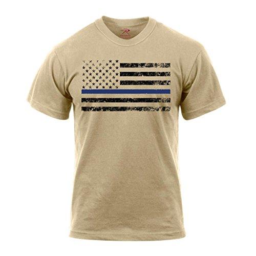 Rothco Thin Blue Line T-Shirt, L, Desert Sand w/Black Flag