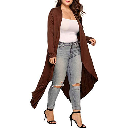 aihihe Plus Size Cardigan for Women Lightweight Long Sleeve Open Front Drape Solid Long Cardigans Outerwear Spring Fall Brown