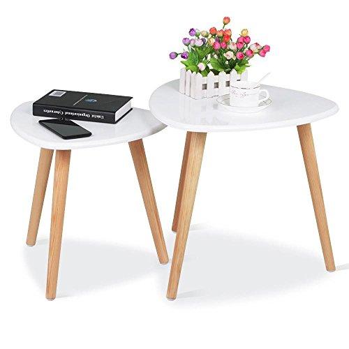 Popamazing–Set di 2tavolini da caffè Nesting End Tables caffè Moderno Occasionale Triangolo tavolino per Ufficio, Soggiorno, Cucina (Bianco)