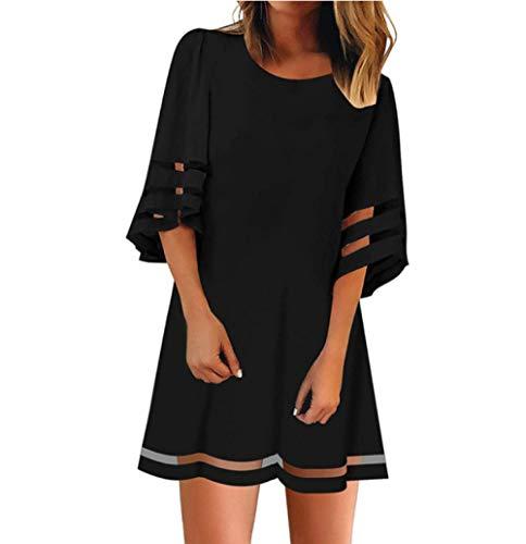 ZYZYY nieuwe zomer vrouwen jurken sexy O-hals mesh panel driekwart klok mouwen losse club strach mini zomerjurk
