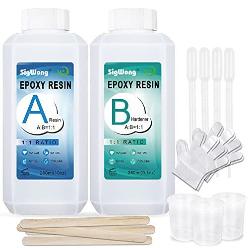 Epoxy Resin Clear Crystal Coating Kit 19.1oz - 2 Part Casting Resin for Art, Craft, Jewelry Making, River Tables, Bonus Gloves, Measuring Cup, wooden sticks and Dropper