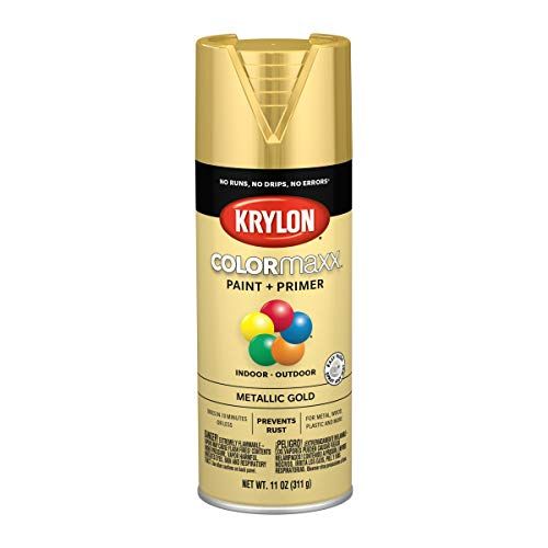 Krylon K05588007 COLORmaxx Spray Paint, Aerosol, Gold