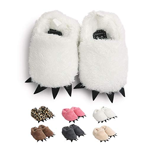 Zapatos de Garra Unisex, Lindo Dibujos Animados Invierno Animal Calentar Casa Antideslizante Suela Zapatillas Regalo para Bebés de 0 a 18 Meses (0-6 Meses, Blanco, Tamaño de Etiqueta 11)