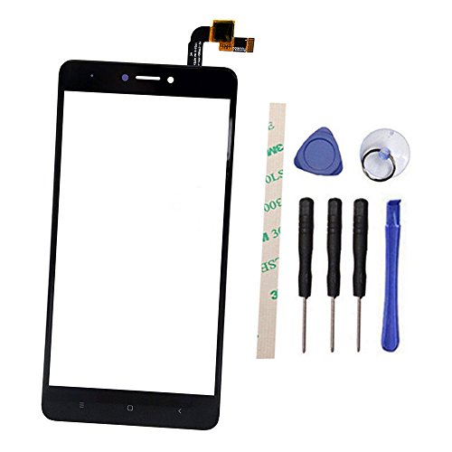 General Front Toque Pantalla Digitizer Vaso Reemplazo Parte para Xiaomi Hongmi Redmi Note 4X/Note 4 Global Version Qualcomm Snapdragon 625 (No LCD Display) with Adhesive (Negro)