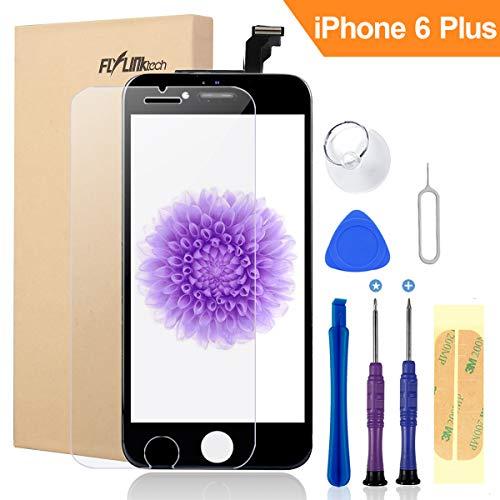 FLYLINKTECH Für iPhone 6 Plus Display Schwarz, LCD 3D Touchscreen Digitizer Assembly mit Werkzeuge und Displayschutzfolie Für iPhone 6 Plus Schwarz 5.5