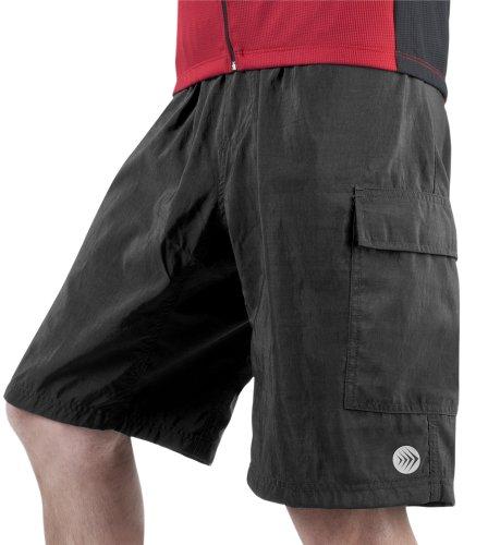 AERO|TECH|DESIGNS Men's ATD Cargo Short Baggy Padded Mountain Bike Cycling Shorts Black Small