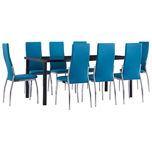 vidaXL Juego de Comedor 9 Piezas Terraza Patio Suite Conjunto Casa Exterior Sillones Aire Libre Mesa Silla Asientos Cuero Sintético Azul