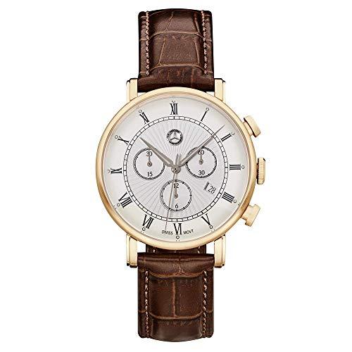 Mercedes Benz Original Reloj de pulsera para hombre, cronógrafo, clásico, retro, dorado, rosa, acero inoxidable, piel de becerro, 42 mm
