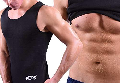 Ofbos® Herren-Tanktop Neopren Body Shaper, Hot Shapers, Fettverbrennung, T-Shirt schwarz (M)