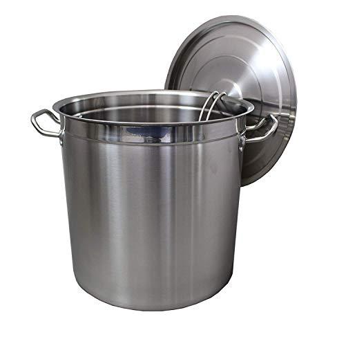 Euro Tische Gastronomie Kochtopf Suppentopf - 20 bis 100 Liter Edelstahl Kochtöpfe - ideal geeignet für ALLE Herdarten & große Küchen - Gastro Topfset (35L)