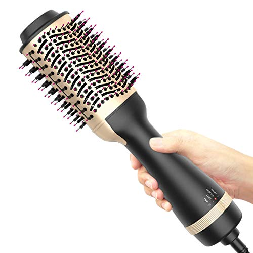Hot Air Brush OneStep Hair Dryer and Volumizer 4in1 Upgrade Hair Dryer Brush Upgrade AntiScald Negative Ionic Technology for All Hair Types GoldenBlack