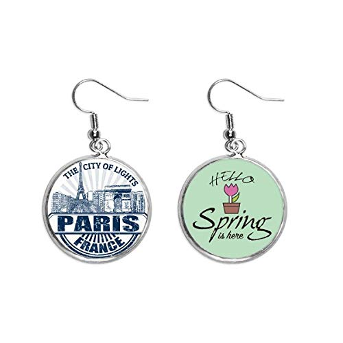 Pendientes de primavera con la bandera de París y la Torre Eiffel