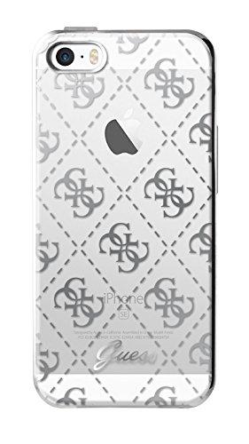 Guess Coque semi-rigide pour iPhone5/5S/SE Transparent/Argent